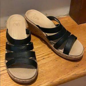 CROCS A-Leigh black cork wedge sandals 8